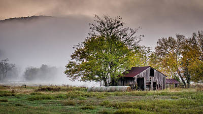 Barn On Foggy Morning Poster by James Barber