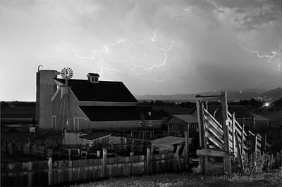 Barn On The Farm And Lightning Thunderstorm Bw Poster