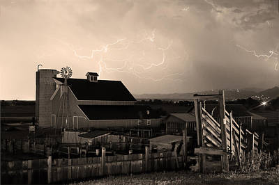 Barn On The Farm And Lightning Thunderstorm Sepia Poster by James BO  Insogna