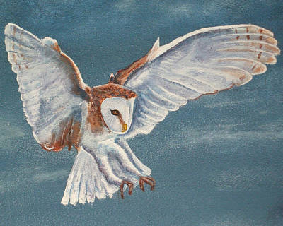 Poster featuring the painting Barn Owl by Dan Wagner