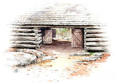 Poster featuring the painting Barn Stalls by Bob  George