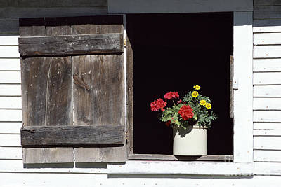 Poster featuring the photograph Barn Window Flowers by Alan L Graham
