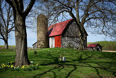 Barn With Silo In Springtime Poster