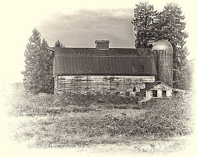 Barn With Silo Poster by Ron Roberts