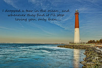 Poster featuring the photograph Barnegat Lighthouse Inspirational Quote by Lee Dos Santos