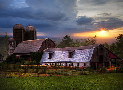 Barns At Sunset Poster by Debra and Dave Vanderlaan