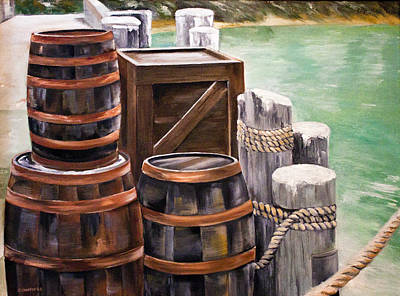 Poster featuring the painting Barrels On The Pier by Ellen Canfield