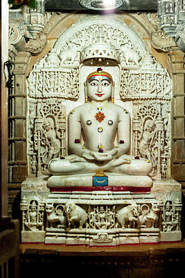 Bas Relief Jain Temple Golden Sandstone Poster by Tom Norring