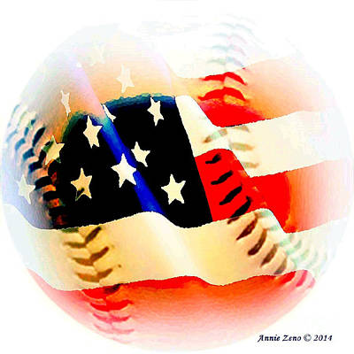 Baseball And American Flag Poster by Annie Zeno