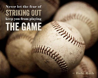 Baseball Art Featuring Babe Ruth Quotation Poster