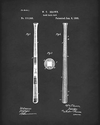 Baseball Bat 1885 Patent Art Black Poster