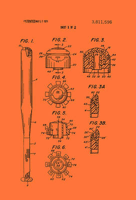 Baseball Bat Construction Patent 1974 Poster by Mountain Dreams