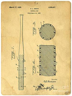 Baseball Bat Patent Poster by Edward Fielding