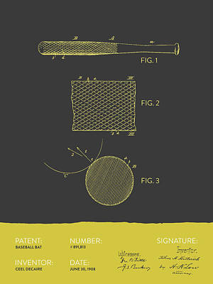Baseball Bat Patent From 1908 - Gray Yellow Poster