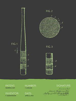 Baseball Bat Patent From 1923 - Gray Green Poster