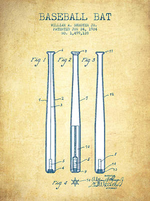 Baseball Bat Patent From 1924 - Vintage Paper Poster by Aged Pixel