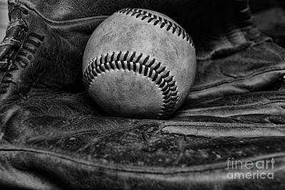 Baseball Broken In Black And White Poster by Paul Ward