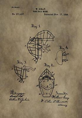 Baseball Catcher's Mask Patent Poster by Dan Sproul