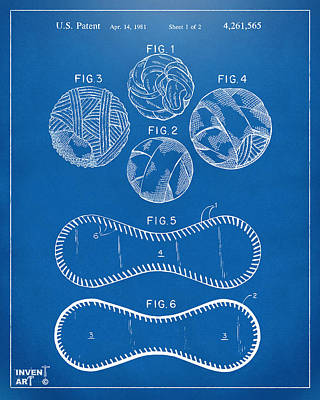 Baseball Construction Patent - Blueprint Poster by Nikki Marie Smith
