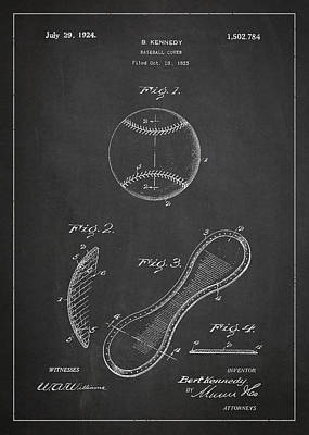 Baseball Cover Patent Drawing From 1923 Poster by Aged Pixel