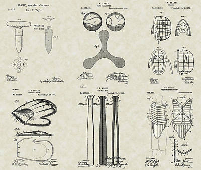 Baseball Equipment Patent Collection Poster