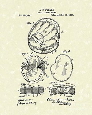 Baseball Glove 1895 Patent Art Poster by Prior Art Design