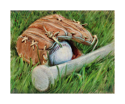 Baseball Glove Bat And Ball Poster