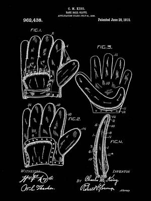 Baseball Glove Patent 1909 - Black Poster by Stephen Younts
