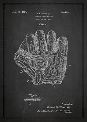Baseball Glove Patent Drawing From 1923 Poster