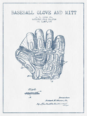 Baseball Glove Patent Drawing From 1924 - Blue Ink Poster