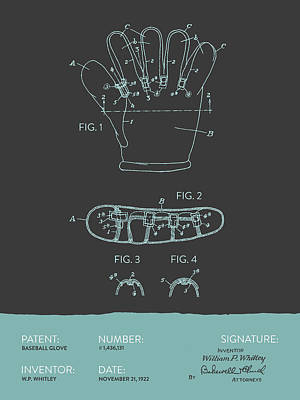 Baseball Glove Patent From 1922 - Gray Blue Poster