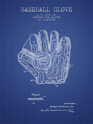 Baseball Glove Patent From 1924 - Blueprint Poster
