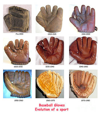 Baseball Glove Evolution Poster by David Bearden