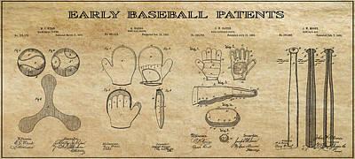 Baseball History 3 Patent Art Poster by Daniel Hagerman