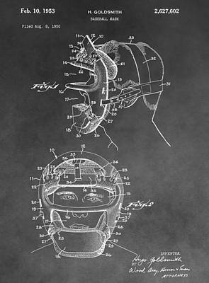 Baseball Mask Patent Black And White Poster