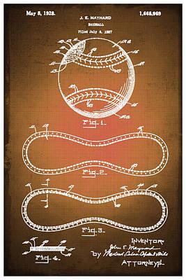 Baseball Patent Blueprint Drawing Sepia Poster