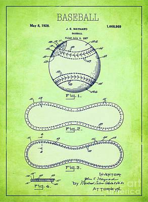 Baseball Patent Green Us1668969 Poster by Evgeni Nedelchev