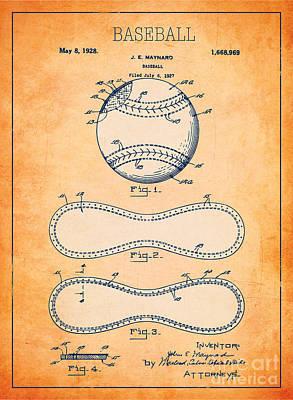 Baseball Patent Orange Us1668969 Poster by Evgeni Nedelchev