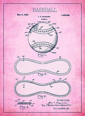 Baseball Patent Pink Us1668969 Poster by Evgeni Nedelchev