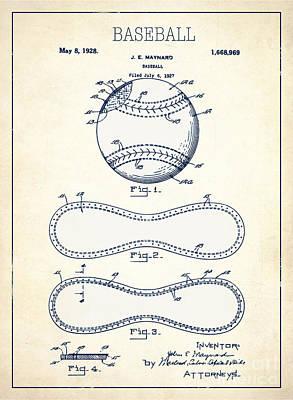 Baseball Patent White Us1668969 Poster by Evgeni Nedelchev