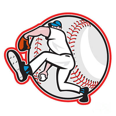 Baseball Pitcher Throw Ball Cartoon Poster by Aloysius Patrimonio