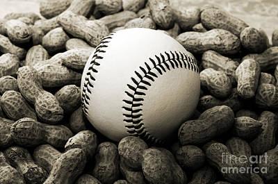 Baseball Season Edgy Bw 1 Poster by Andee Design