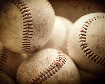 Baseball Sports Art Pile Of Well Worn Baseballs  Poster