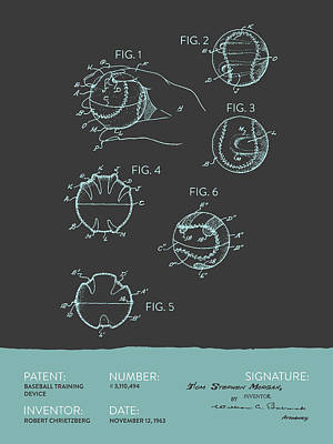 Baseball Training Device Patent From 1963 - Gray Blue Poster by Aged Pixel