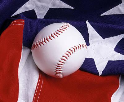 Baseball With American Flag Poster