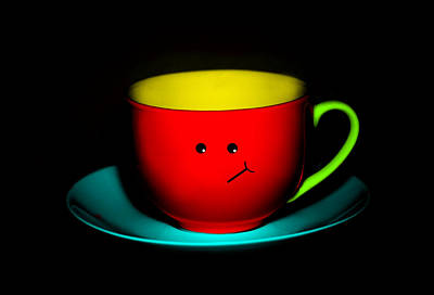 Bashful Colorful Cup And Saucer Poster