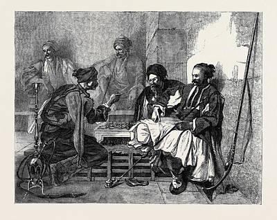 Bashi Bazouks Playing At Chess Poster by Bida, F. Alexandre (1813?1895), French