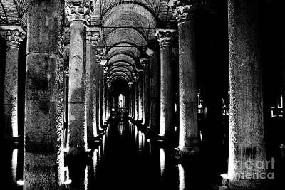 Basilica Cistern In Black And White Poster by Emily Kay