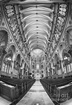 Basilica Of Saint Louis Black And White Poster by Jerry Fornarotto