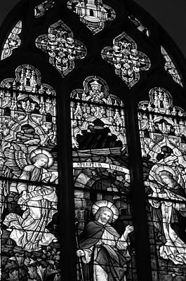 Basilica Stained Glass 2 Bw Poster